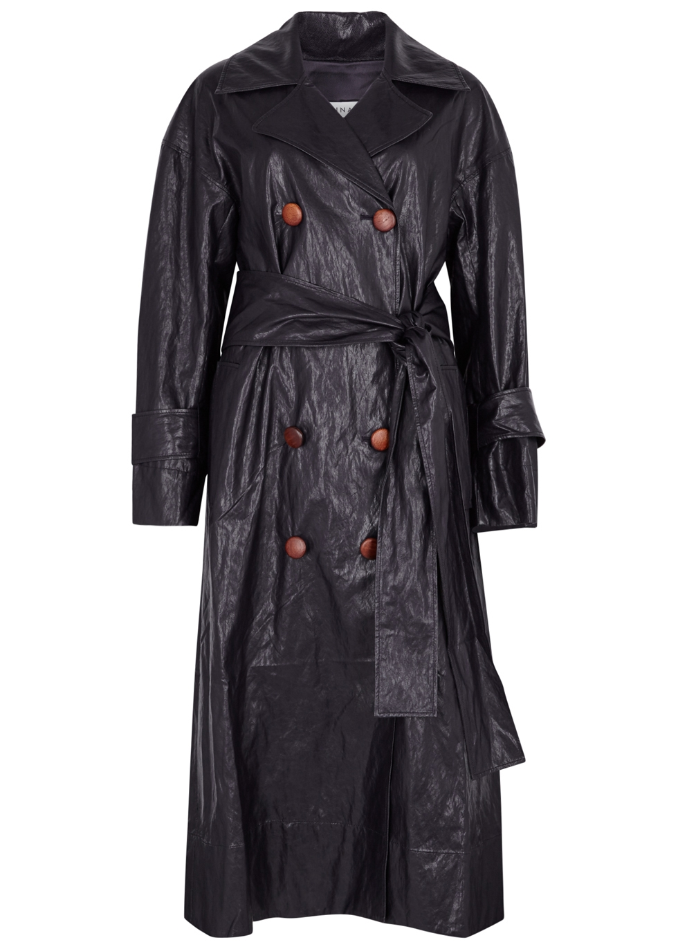 REJINA PYO OIL NAVY FAUX LEATHER TRENCH COAT