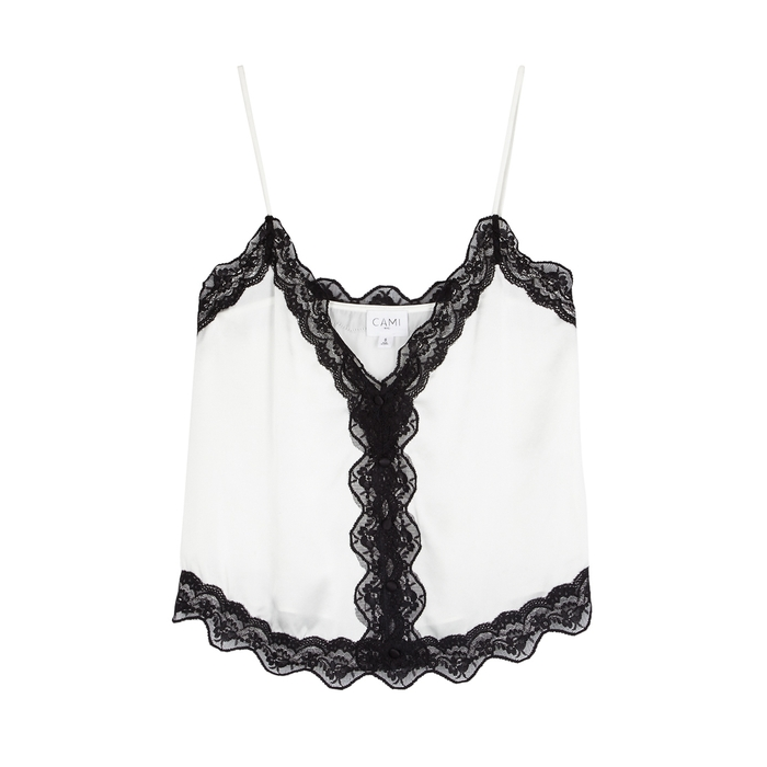 Cami Nyc KNOX LACE-TRIMMED SILK CHARMEUSE TOP