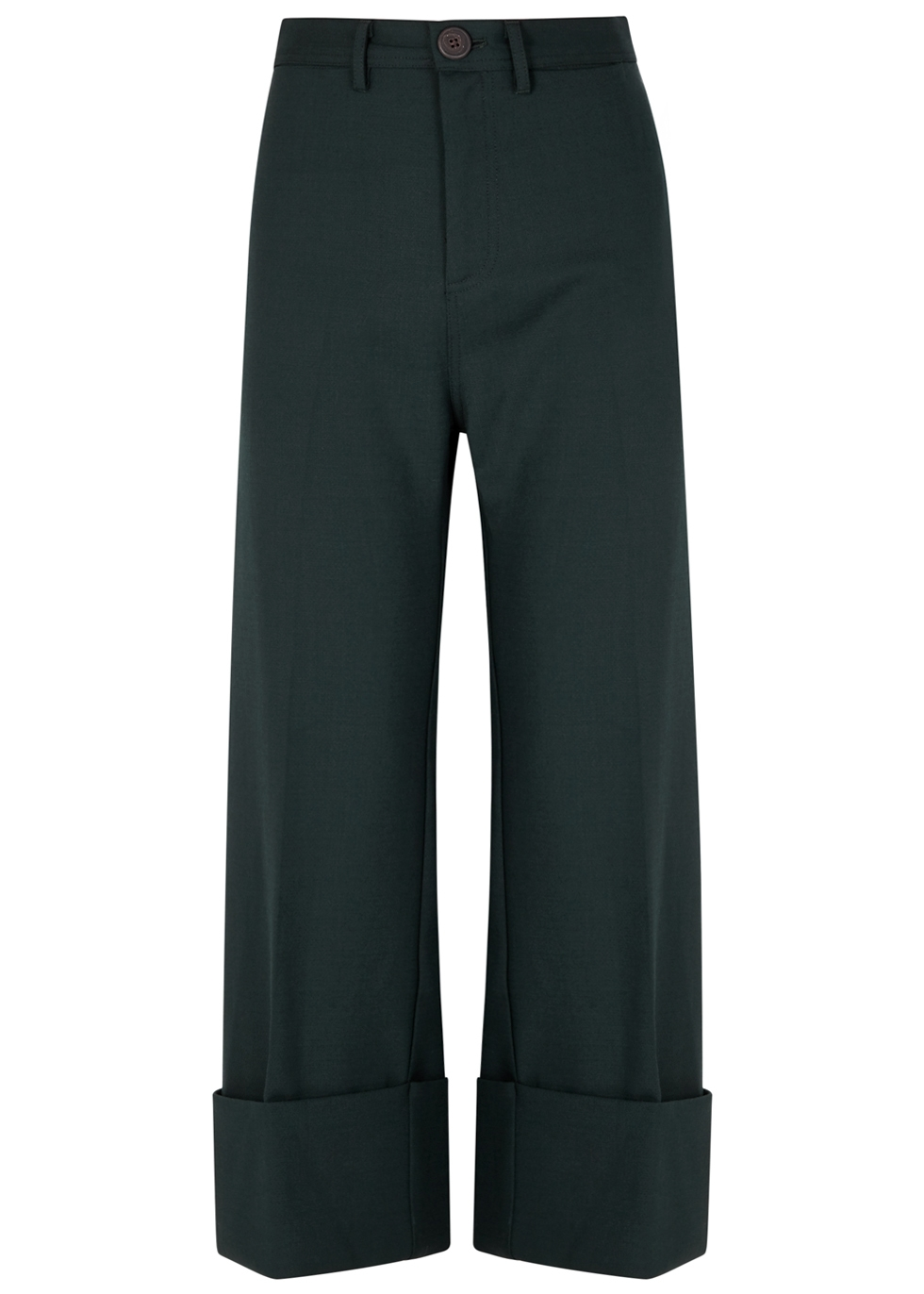 SEA NY Tradition Forest Green Wide-Leg Trousers