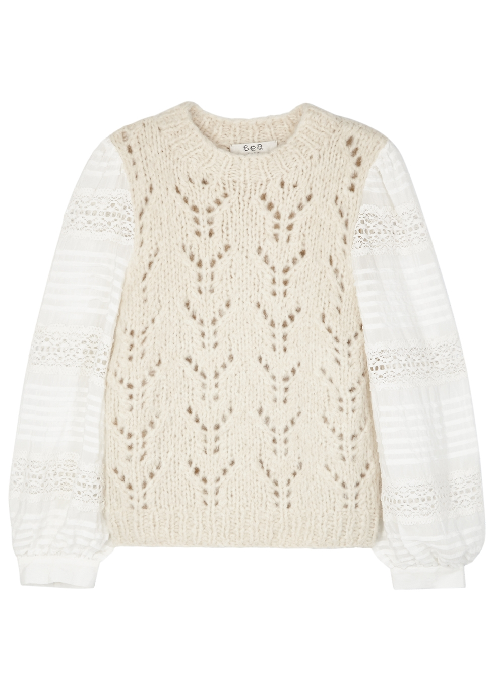 SEA NY Ellie Pointelle-Knit And Organza Top in Cream