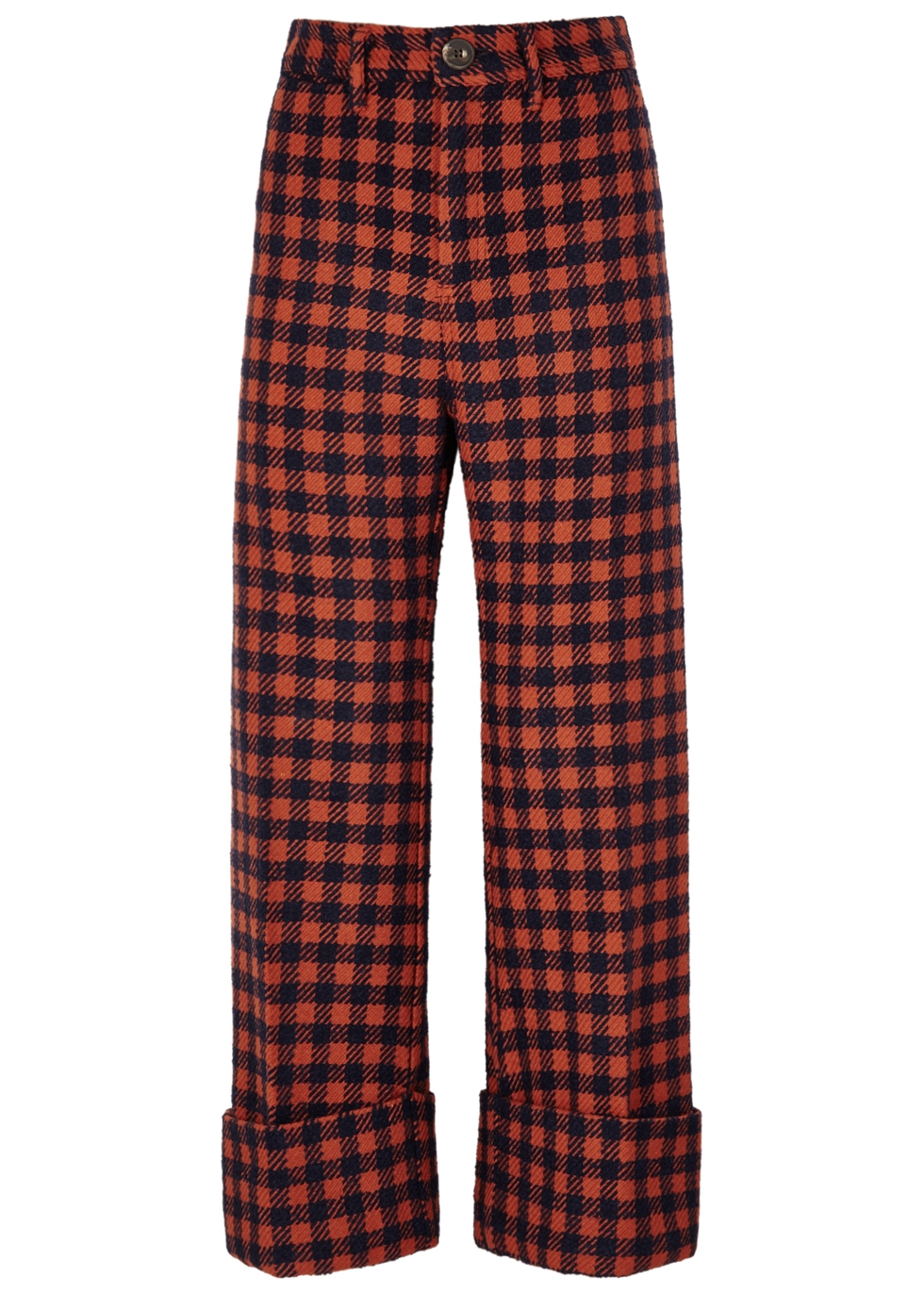SEA NY Ethno Pop Checked Wool-Blend Trousers in Orange