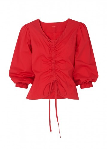 KITRI Riley Red Ruched Shirt