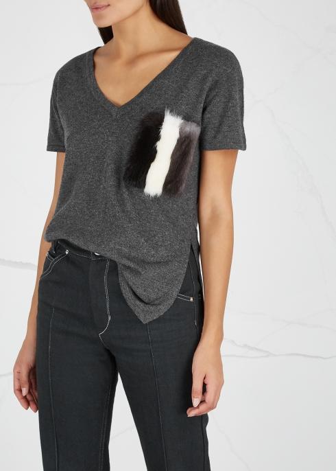 Grey fur-trimmed wool-blend T-shirt