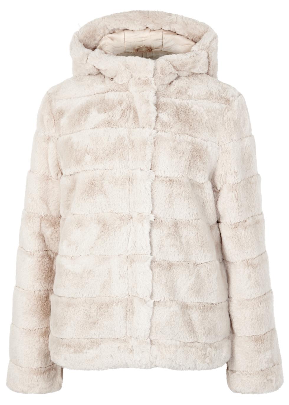 SAMS0E & SAMS0E Saba Stone Quilted Faux Fur Coat in Beige
