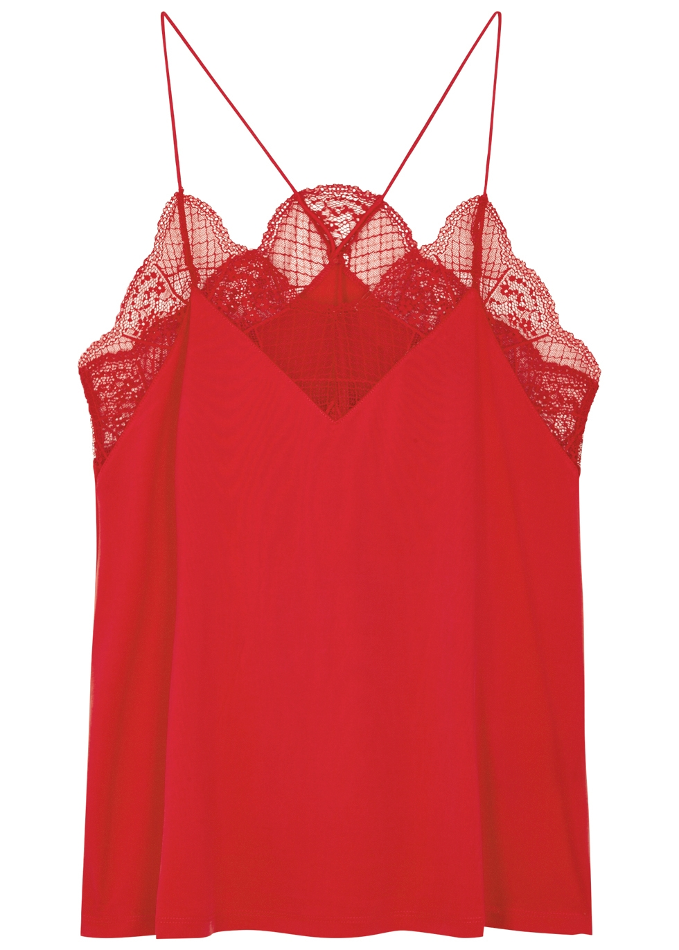 SAMS0E & SAMS0E Celina Lace-Trimmed Jersey Top in Red