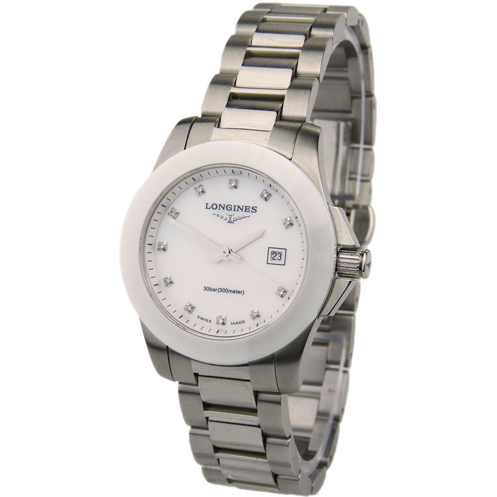 LONGINES LADY CONQUEST STEEL AND CERAMIC L3.257.4.87.7