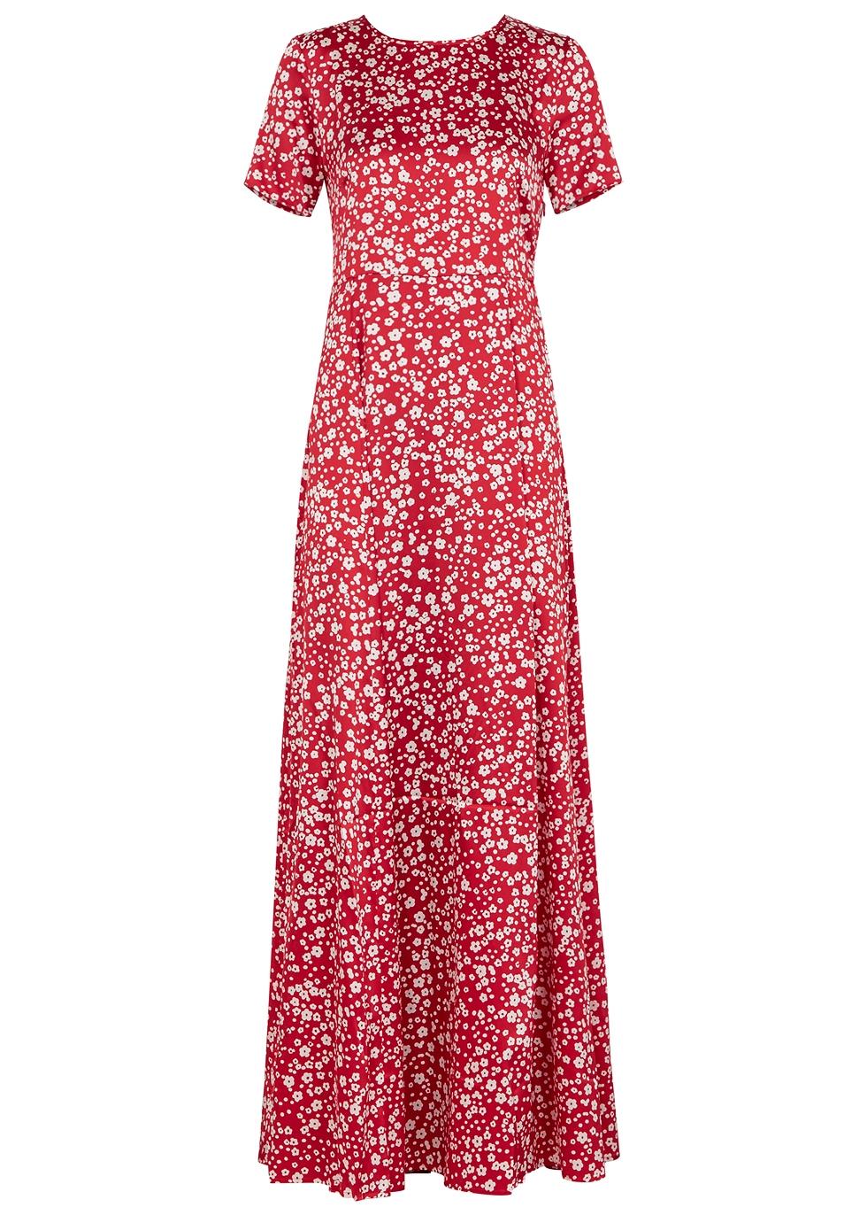 STINE GOYA NANNA FLORAL-PRINT SILK SATIN DRESS