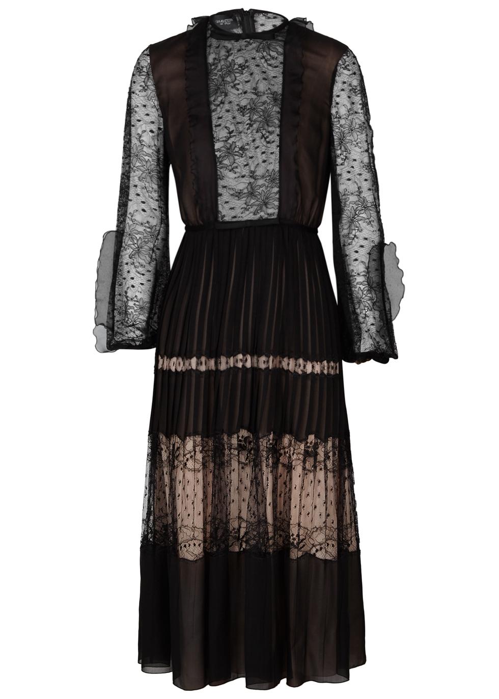 BLACK LACE AND SILK ORGANZA DRESS