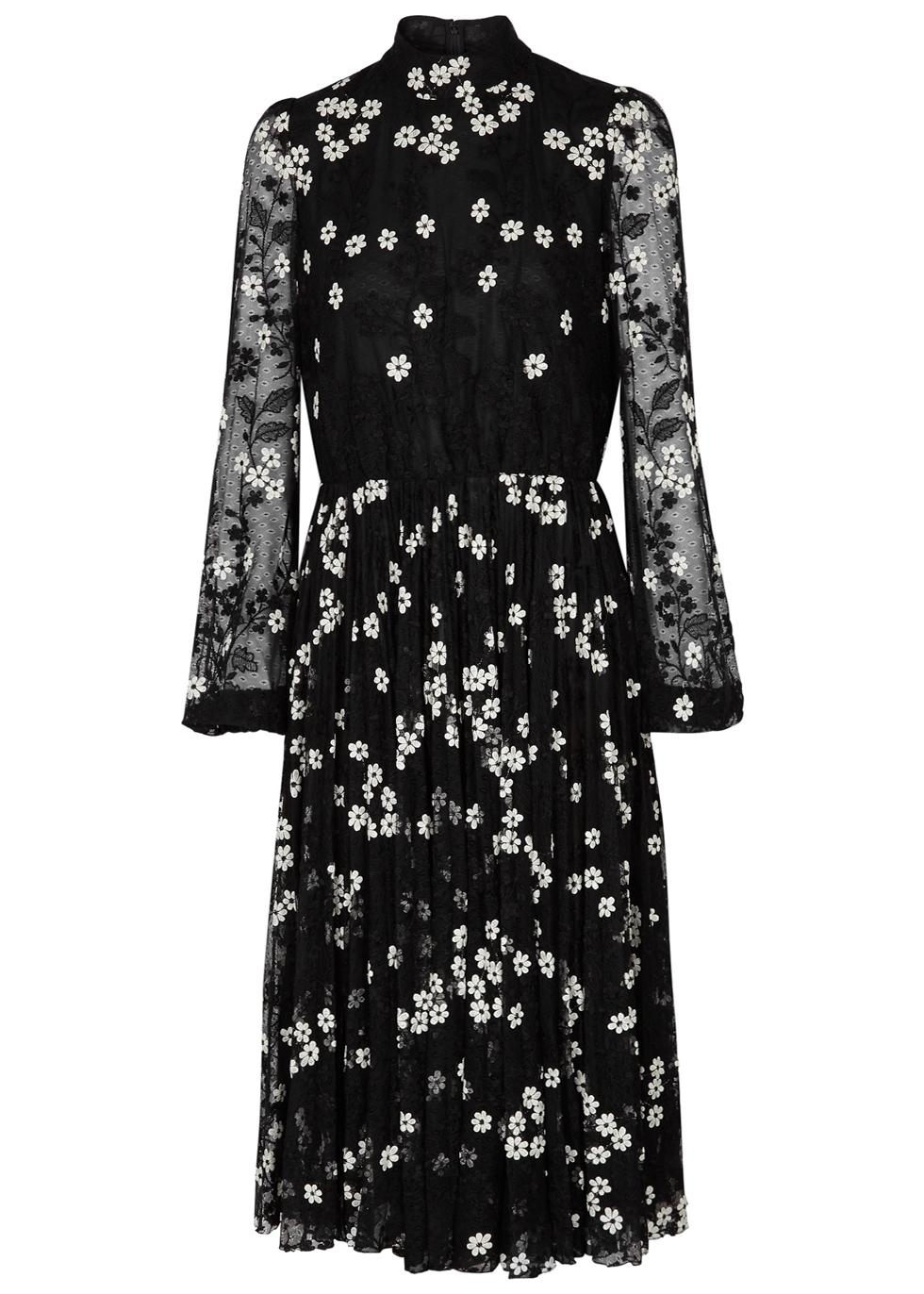 GIAMBATTISTA VALLI BLACK EMBROIDERED LACE DRESS