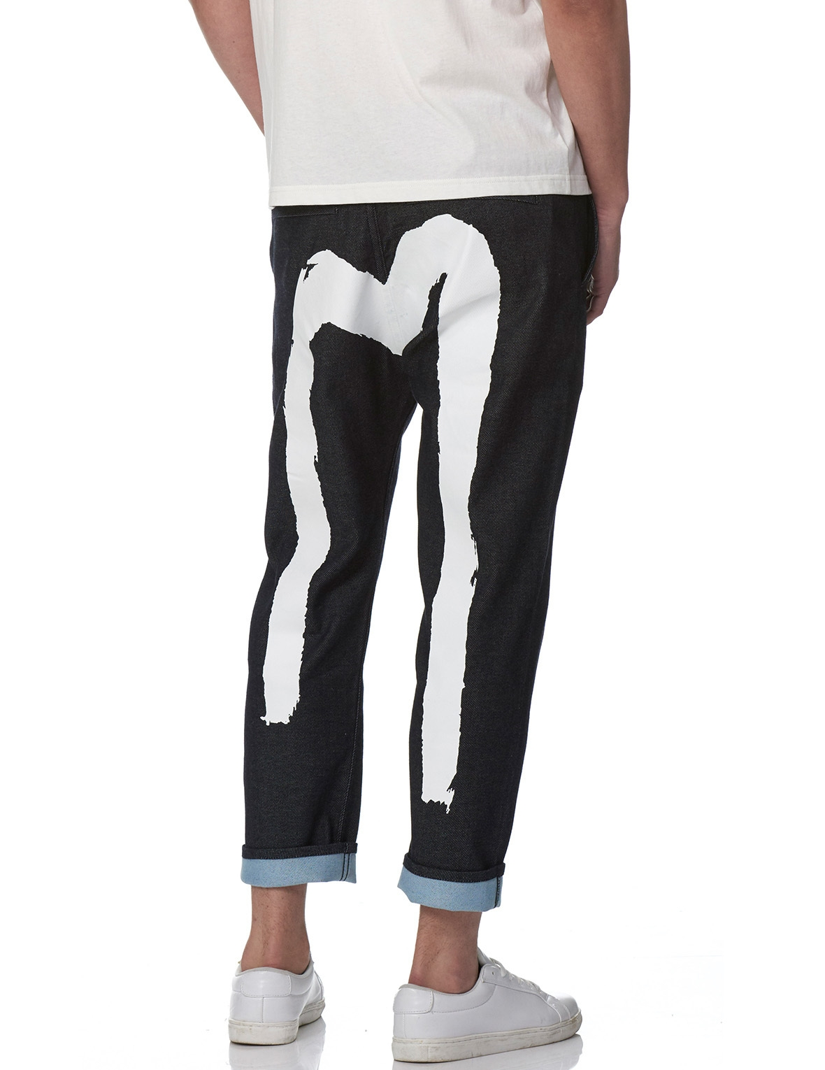 EVISU FASHION JEANS WITH BRUSHSTROKE DAICOCK PRINT