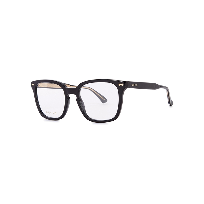 GUCCI BLACK SQUARE-FRAME OPTICAL GLASSES