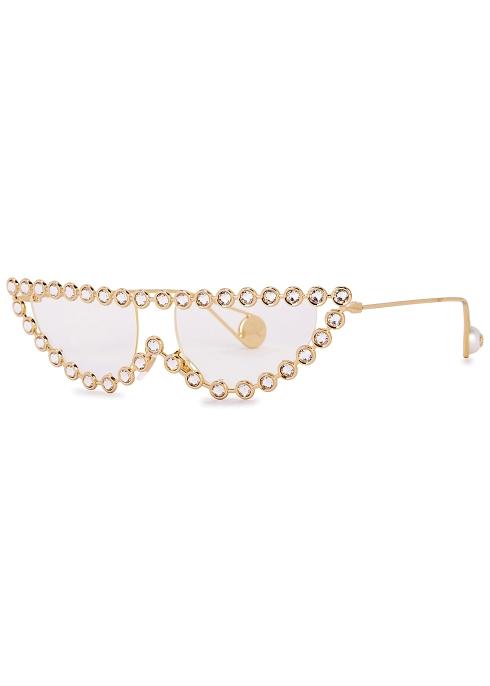 629b43fab2d7 Gucci Gold-tone cat-eye optical glasses - Harvey Nichols