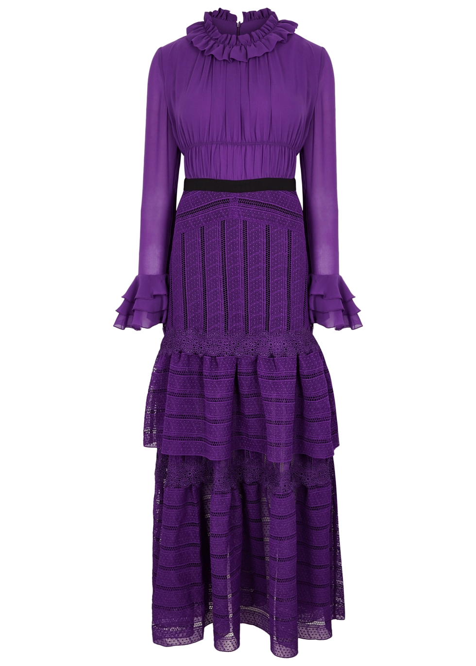 THREE FLOOR ULTRALICIOUS PURPLE GUIPURE LACE GOWN