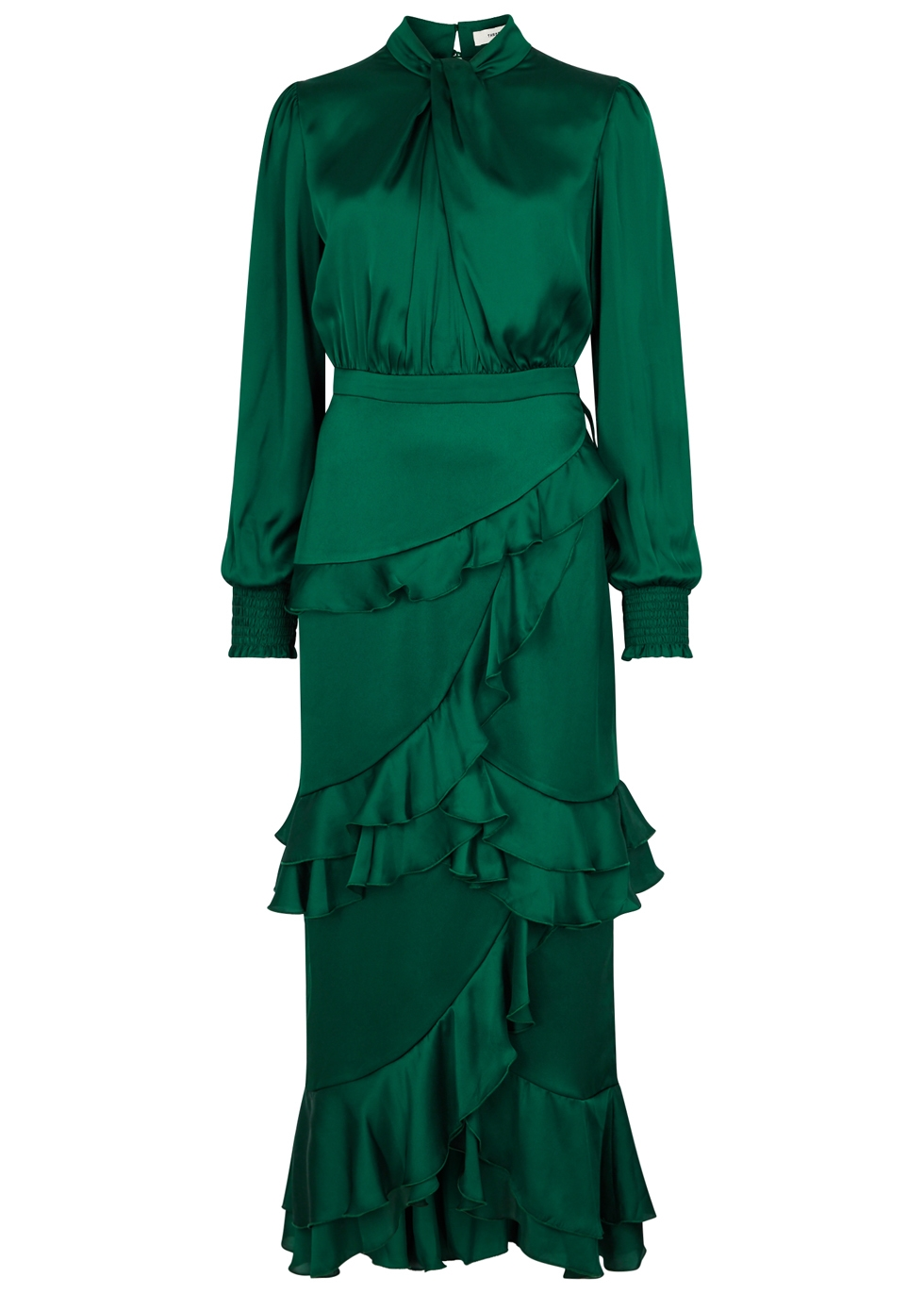 THREE FLOOR JEDI RUFFLE-TRIMMED SATIN DRESS