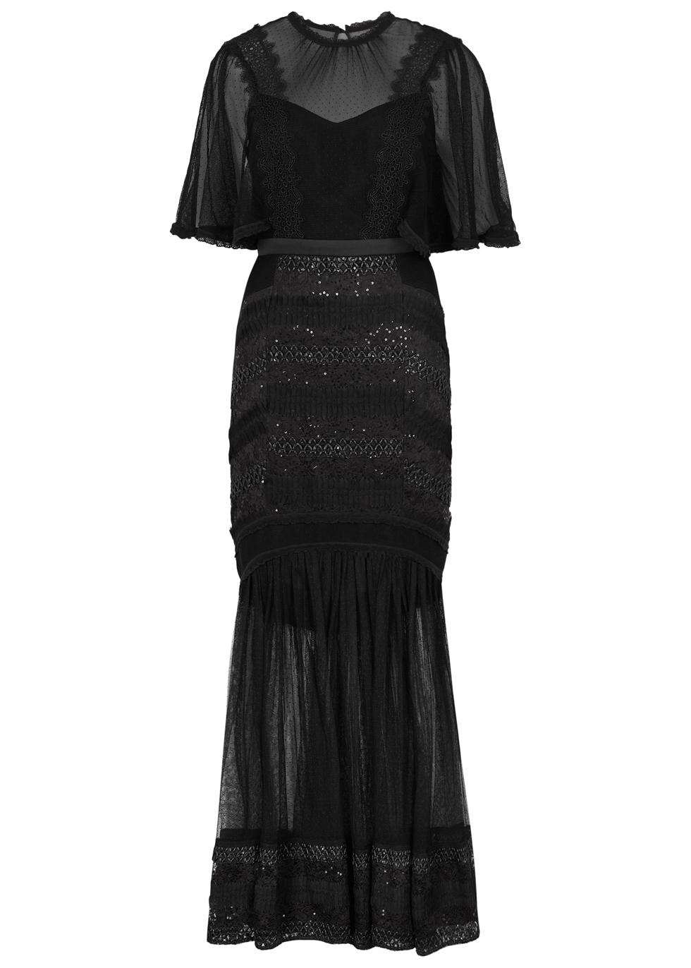 THREE FLOOR VILLAINESS EMBELLISHED POINT D'ESPRIT GOWN
