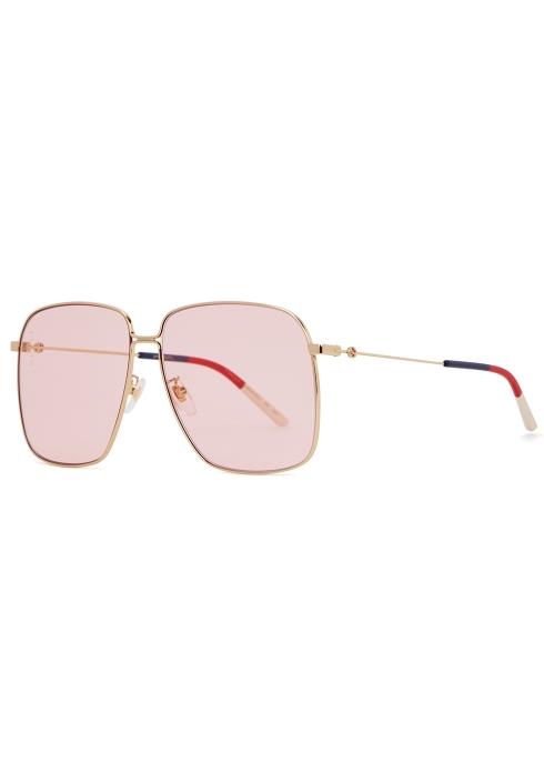 515657303ba Gucci Gold-tone square-frame sunglasses - Harvey Nichols