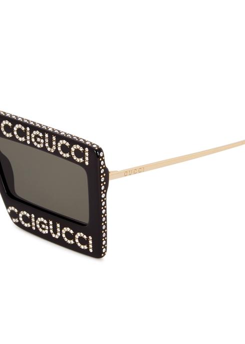 f9f575835a8 Gucci Crystal-embellished aviator-style sunglasses - Harvey Nichols