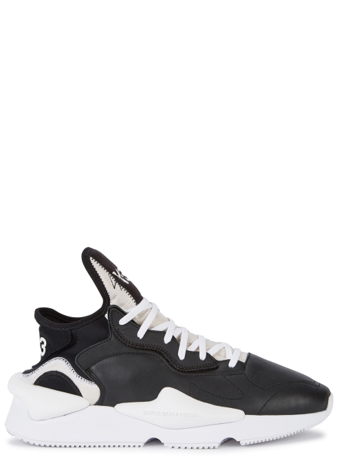 Y-3 Kaiwa black leather trainers - Harvey Nichols 180ae030b55d6