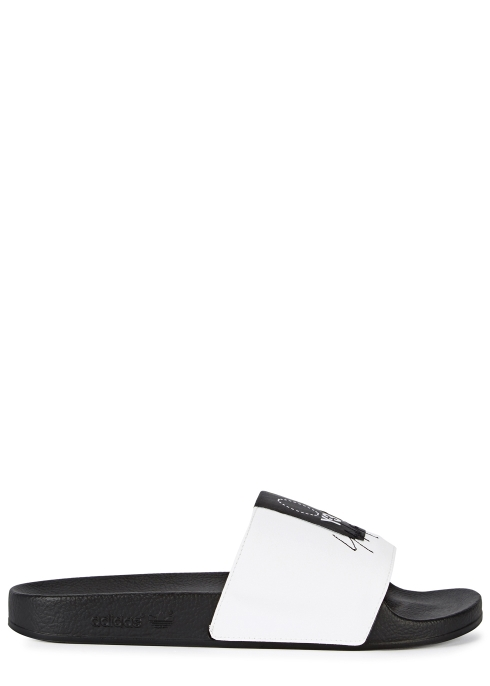 Y-3 Adilette faux leather sliders - Harvey Nichols 2e9ffcc766fc7
