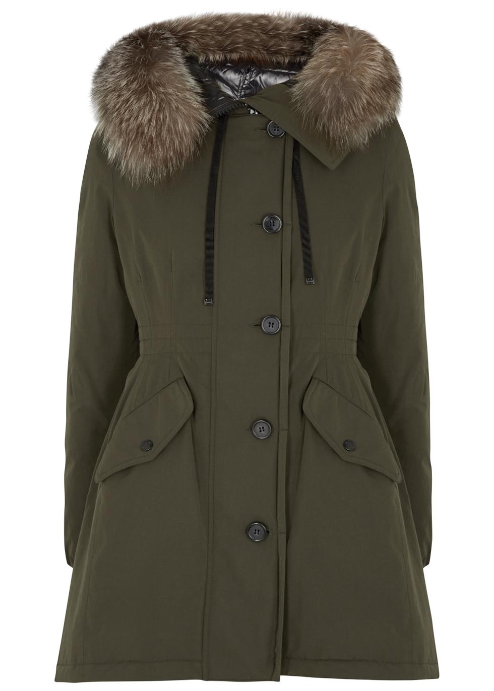 Monticole fur-trimmed twill coat - Moncler