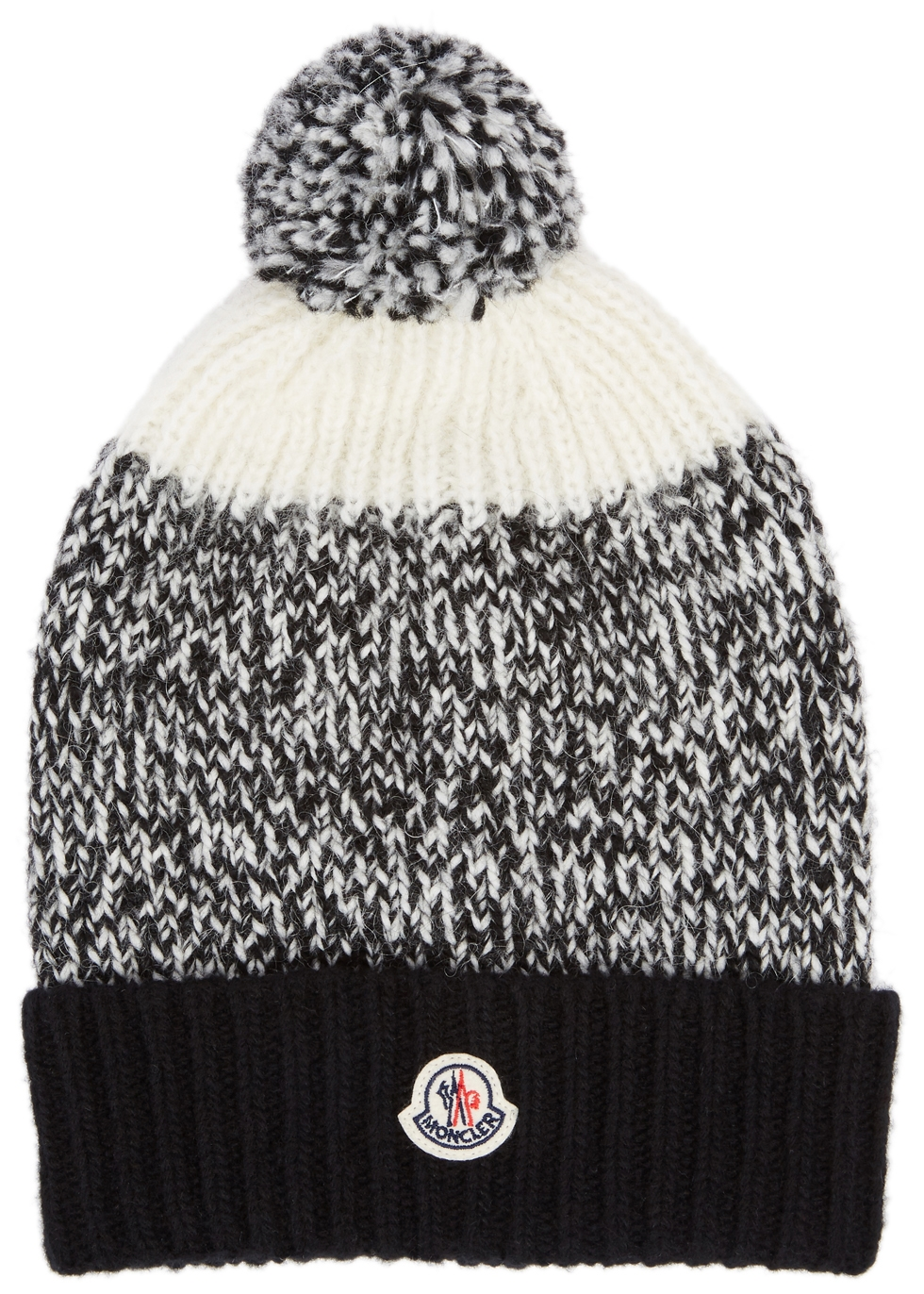 MONCLER PANELLED POMPOM KNITTED BEANIE