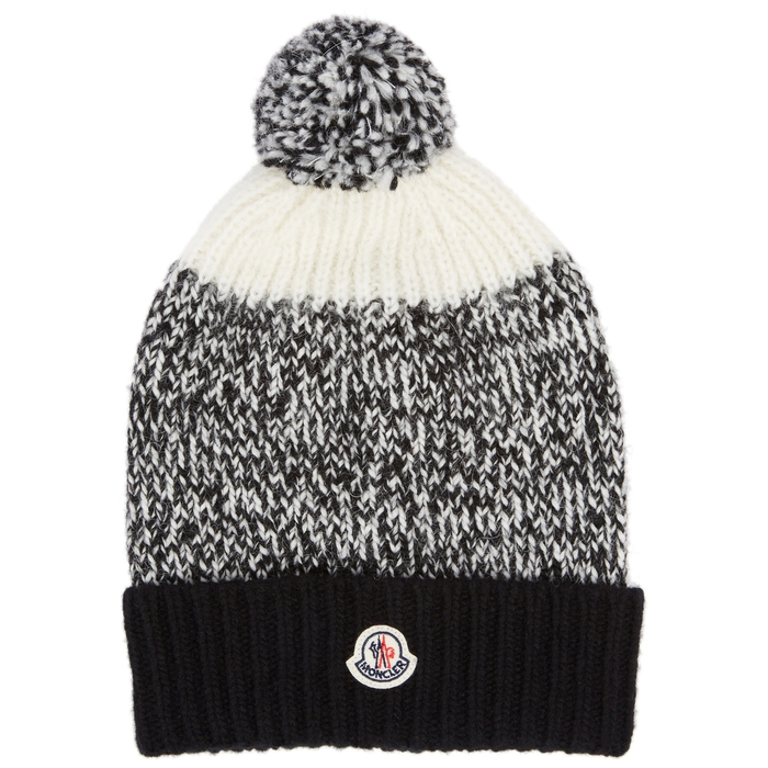 Moncler Beanies PANELLED POMPOM KNITTED BEANIE
