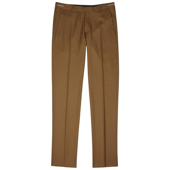 Shop Dior Homme Brown Slim-Leg Wool Trousers 25a36656301c