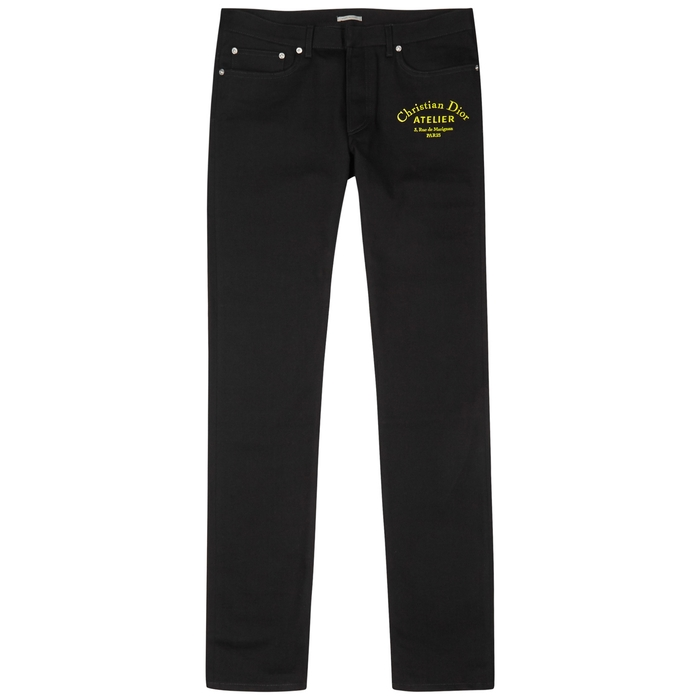 Dior Homme Black Embroidered Slim-leg Jeans