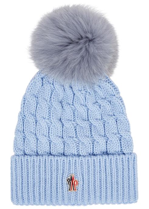 c6ea418849d9 Moncler Light blue pompom wool beanie - Harvey Nichols