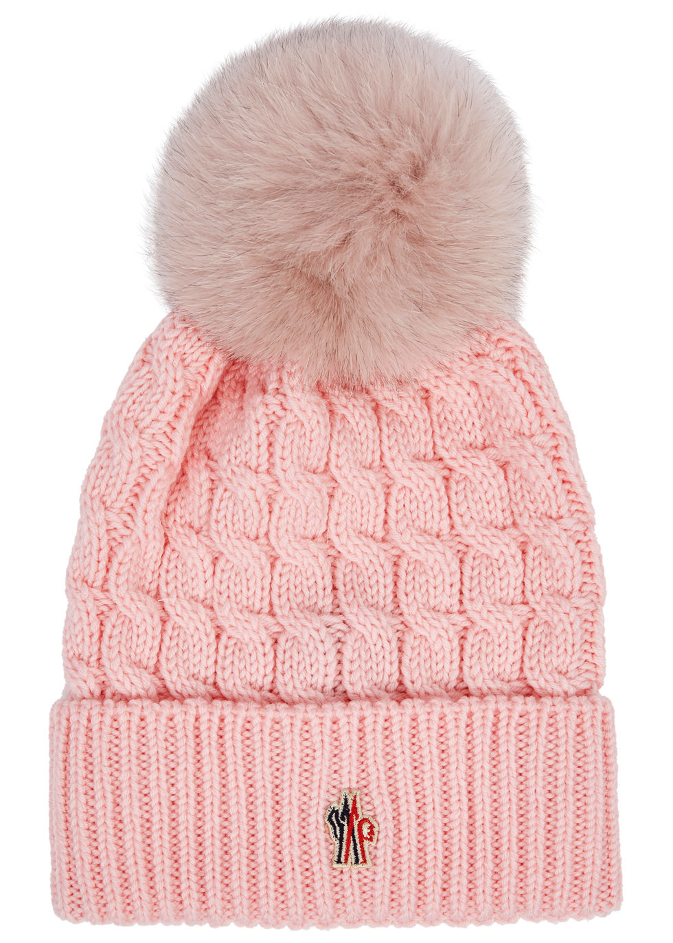 MONCLER PINK POMPOM WOOL BEANIE