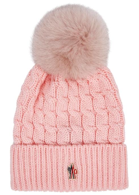 0c450325739e7 Moncler Pink pompom wool beanie - Harvey Nichols