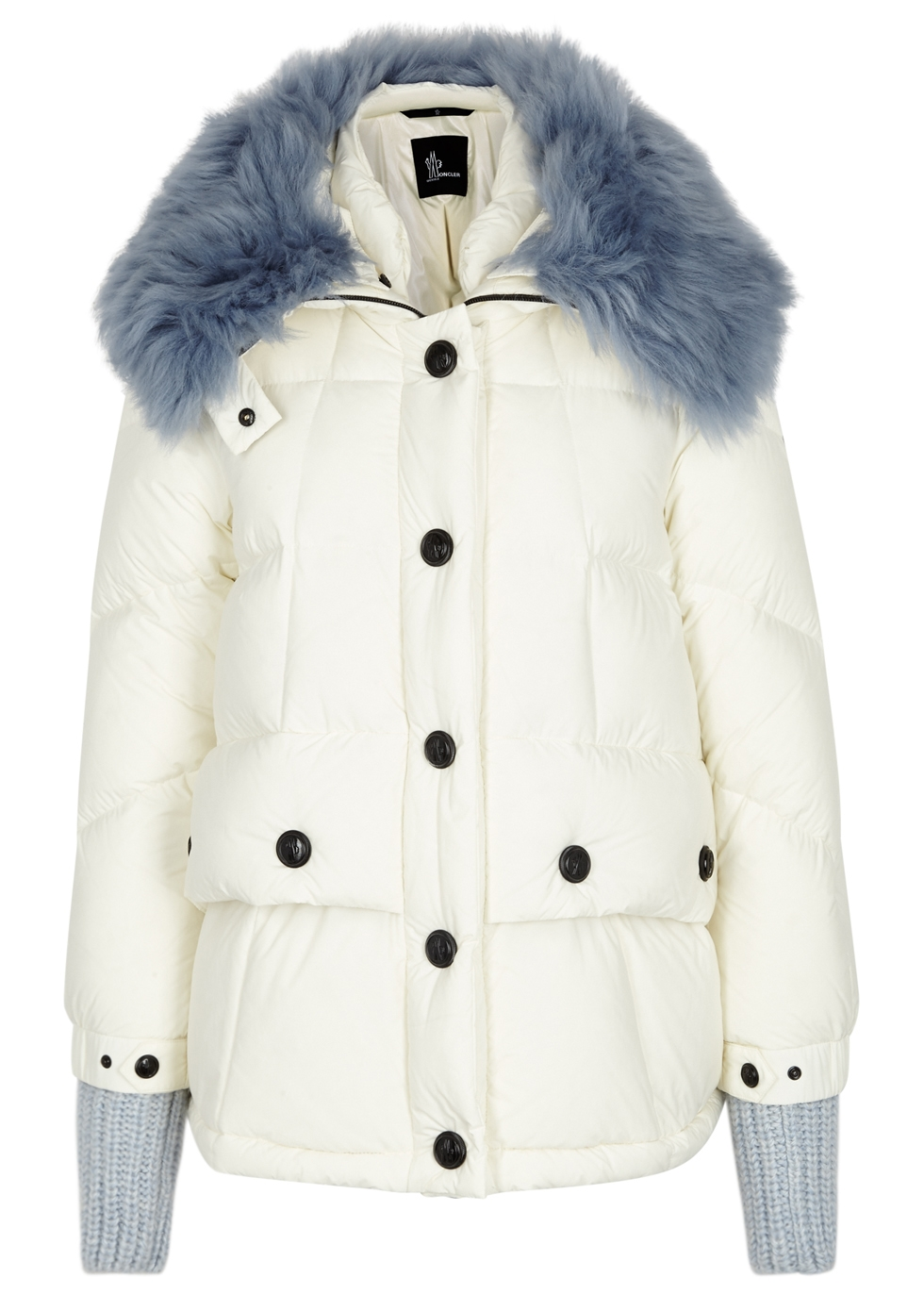 MONCLER CAREZZA FUR-TRIMMED QUILTED SHELL JACKET