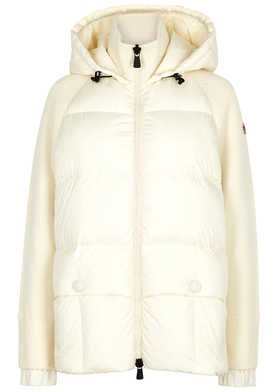 MONCLER CREAM WAFFLE-KNIT AND SHELL JACKET