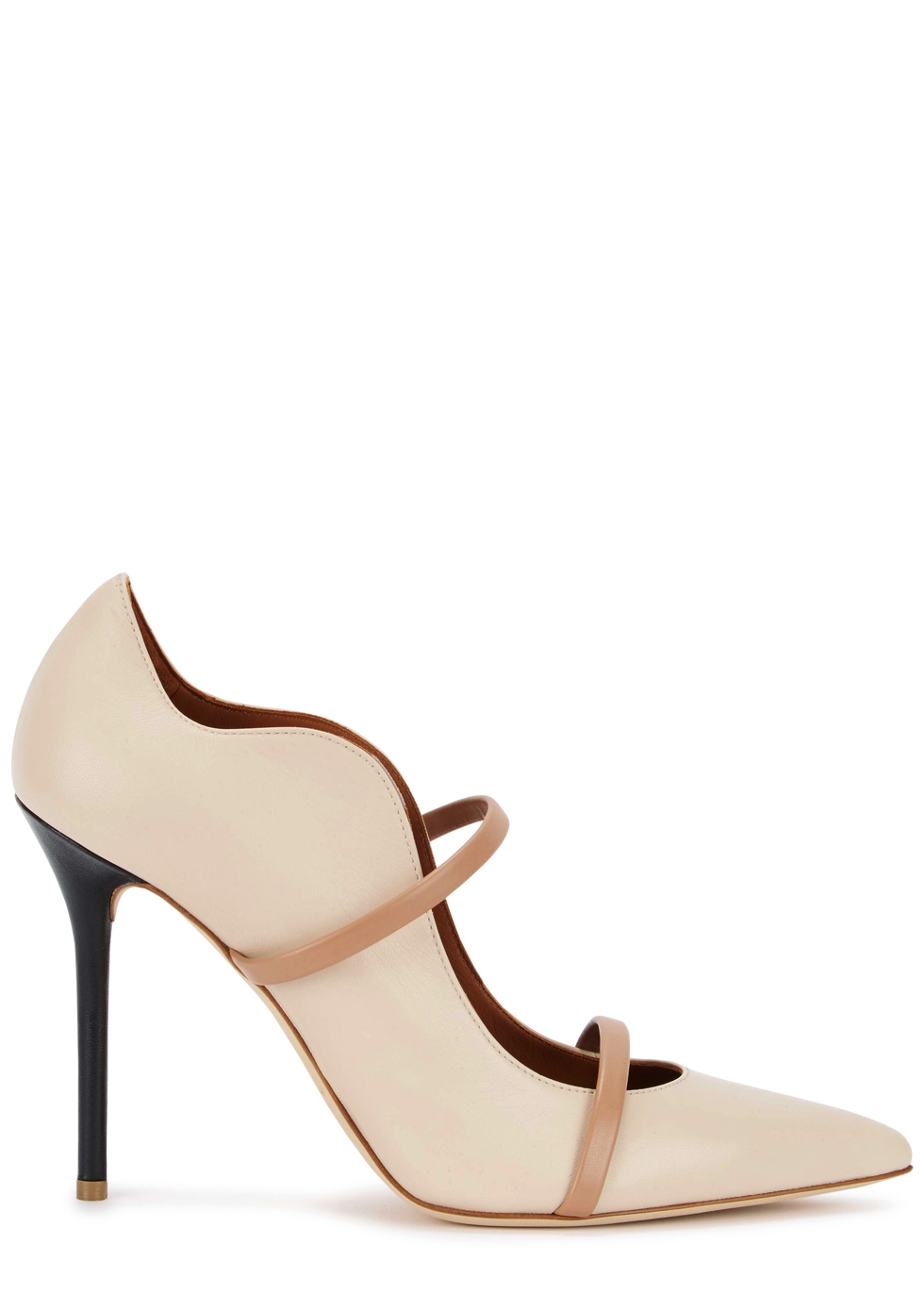 Maureen 100 Stone Leather Mules in Nude