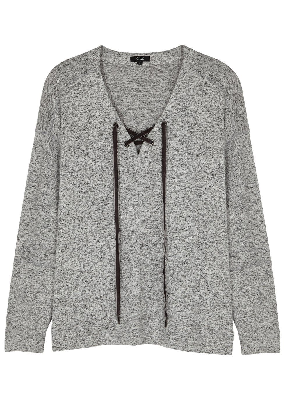 Leigh V-Neck Velvet-Ties Long-Sleeve Heathered Top in Grey