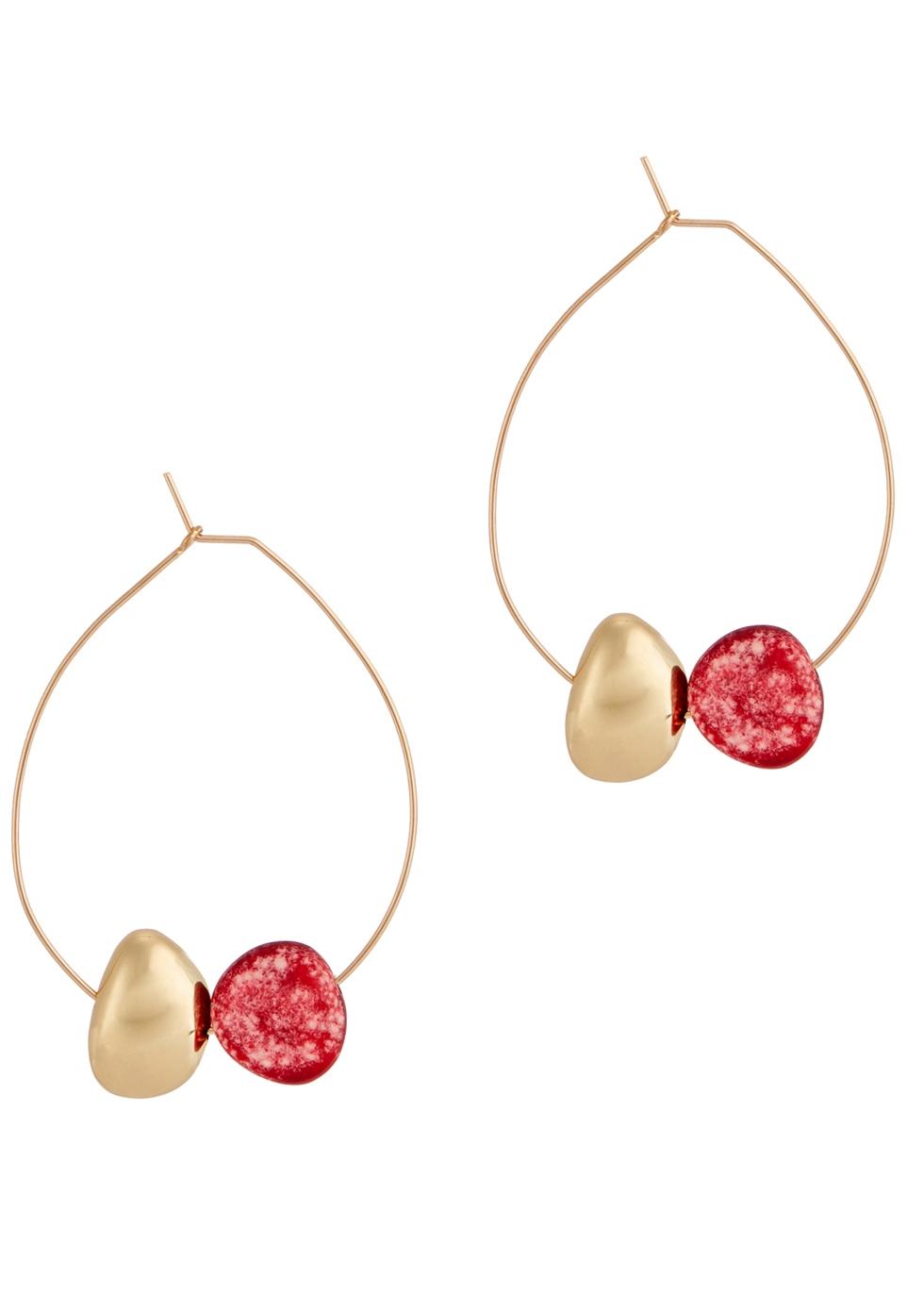 DINOSAUR DESIGNS GOLD TONE HOOP EARRINGS