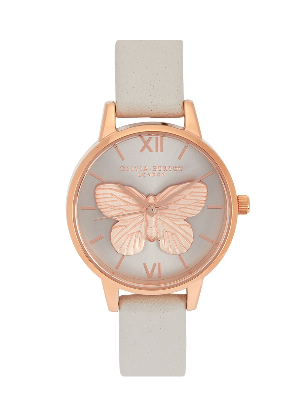 OLIVIA BURTON 3D BUTTERFLY ROSE GOLD-PLATED WATCH