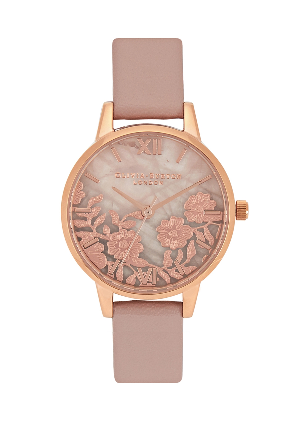 OLIVIA BURTON FLORAL ROSE GOLD-PLATED WATCH