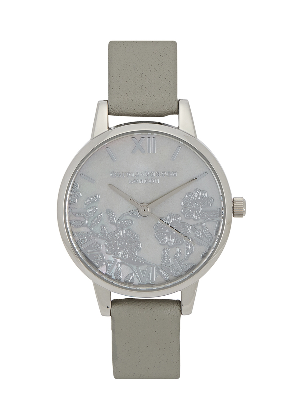 OLIVIA BURTON SILVER-PLATED FLORAL WATCH