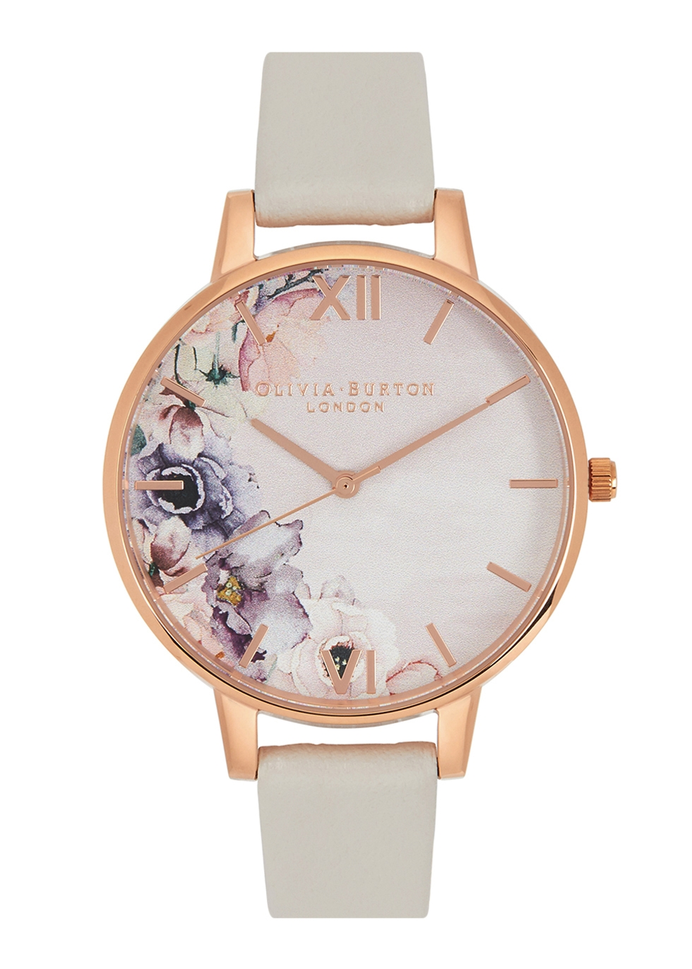 OLIVIA BURTON WATERCOLOUR FLORALS ROSE GOLD-PLATED WATCH