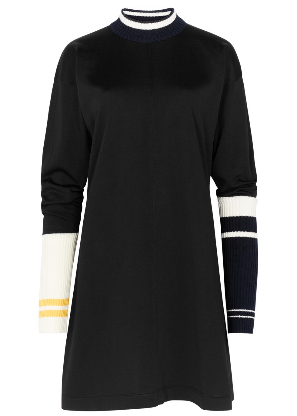 CALVIN KLEIN 205W39NYC BLACK STRIPED FINE-KNIT DRESS