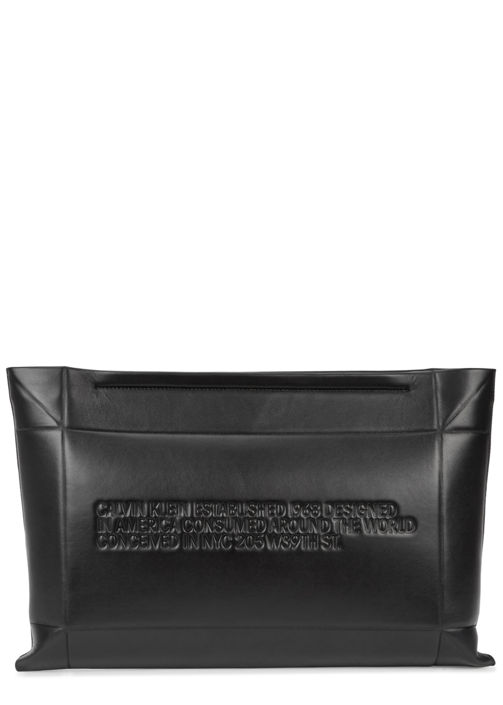 Oversized Quilted Leather Clutch, Black