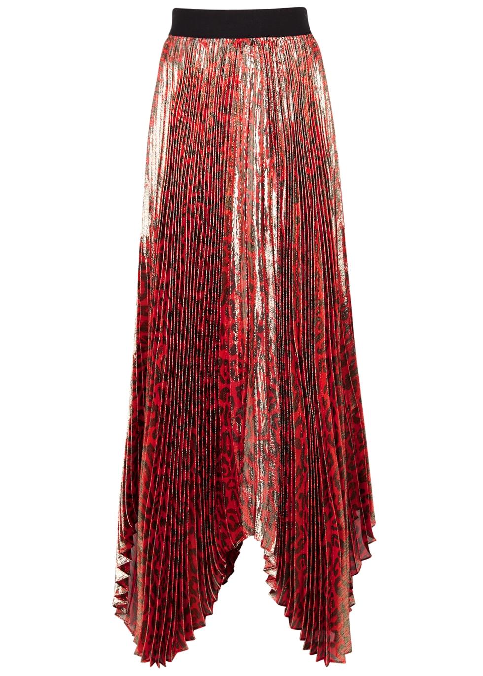 Alice+Olivia Animal Print Pleated Skirt - Red