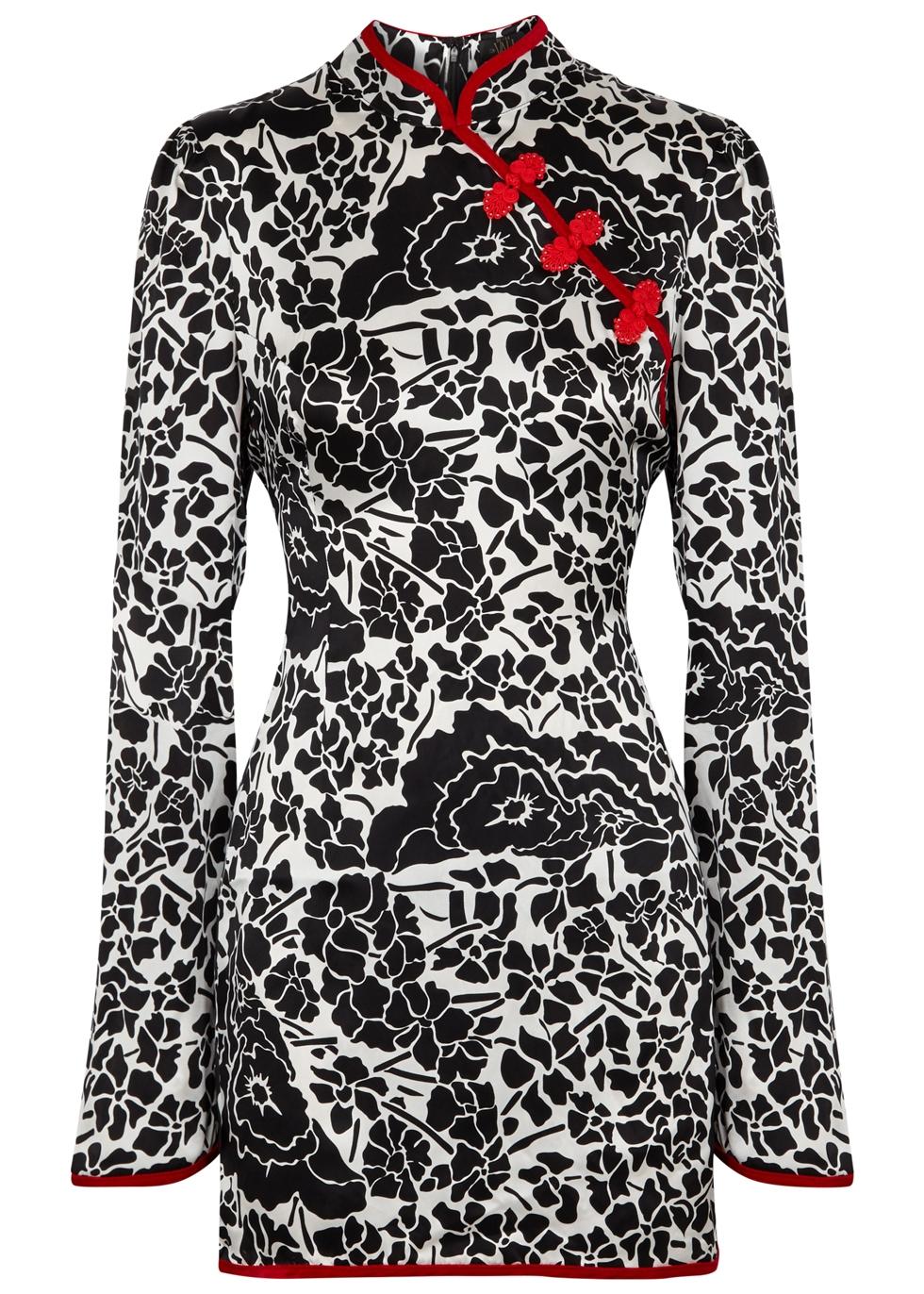 DE LA VALI Sake Floral Printed Silk Dress  in Multicolour