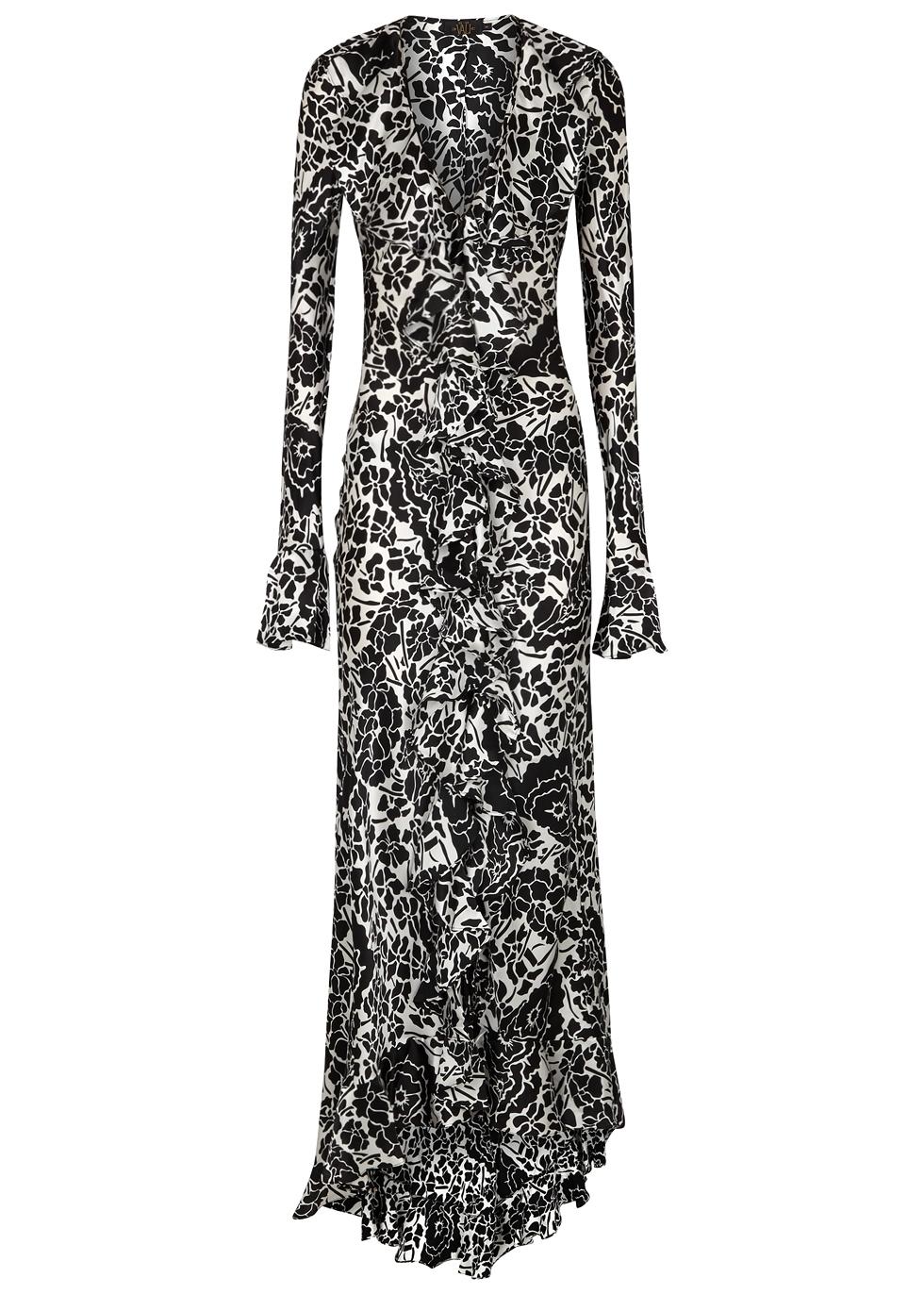 Tangerine Oriental Silk Long Dress, Black And White