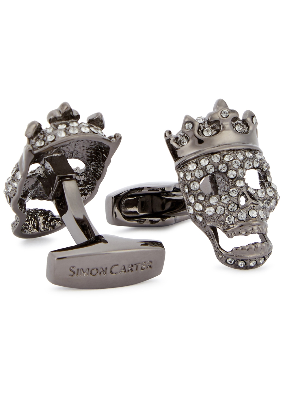 SIMON CARTER TATTOO CROWNED SWAROVSKI CUFFLINKS