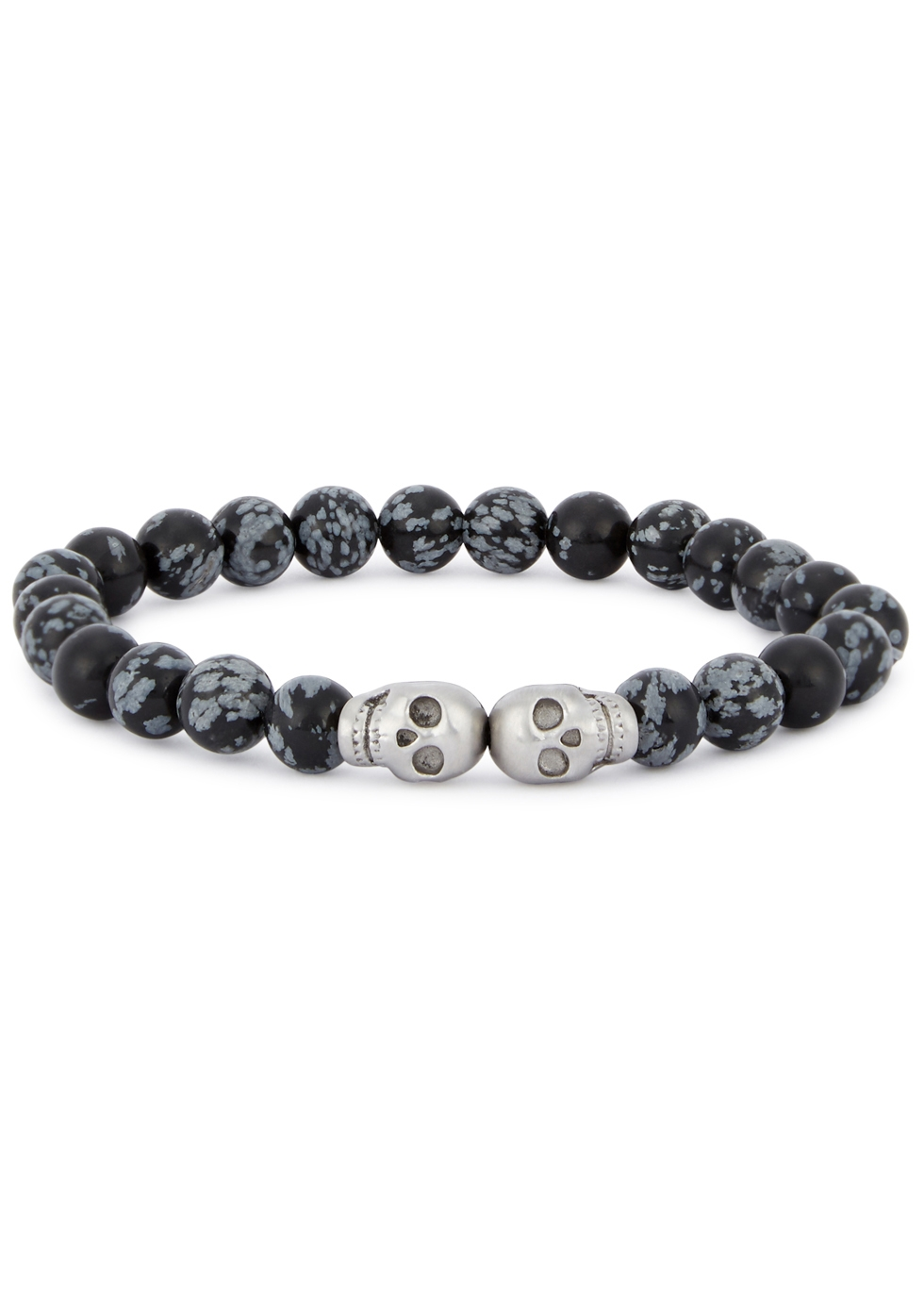 SIMON CARTER OBSIDIAN BEADED SKULL BRACELET