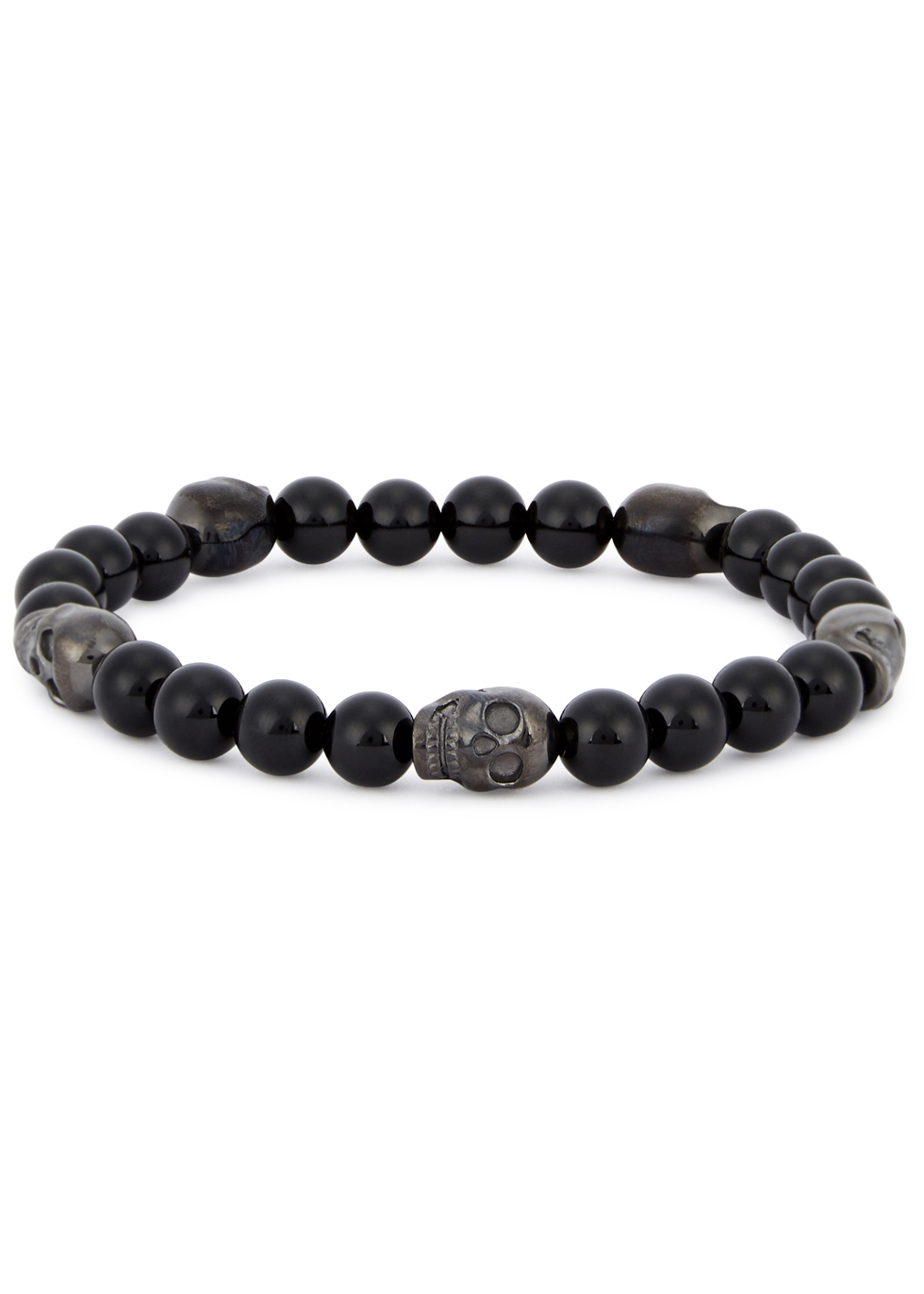 SIMON CARTER ONYX BEADED SKULL BRACELET