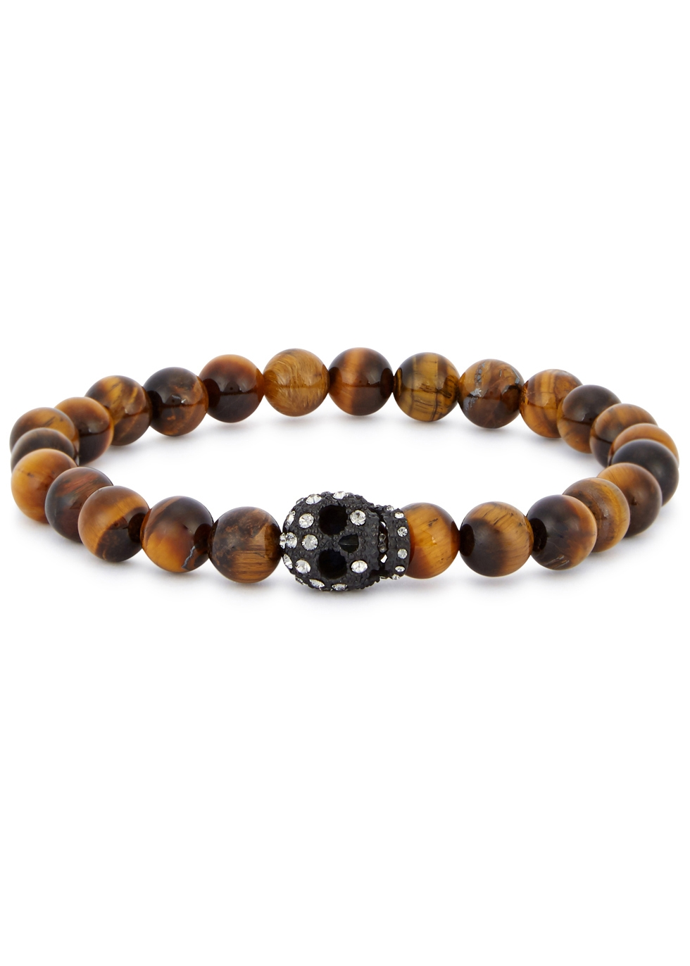 SIMON CARTER TIGER'S EYE BEADED SKULL BRACELET