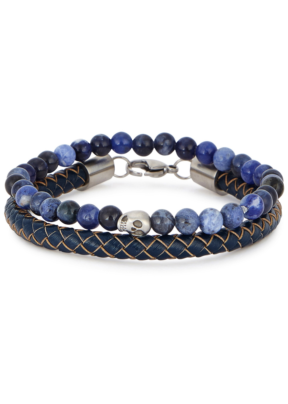 SIMON CARTER LEATHER AND SODALITE BRACELETS - SET OF TWO
